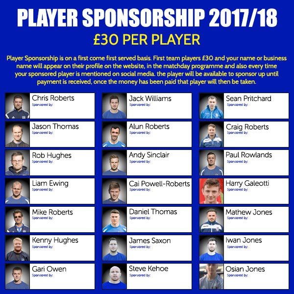 2017/18 PLAYER SPONSORSHIP